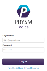 Prysm Voice Manager Portal Login Screen
